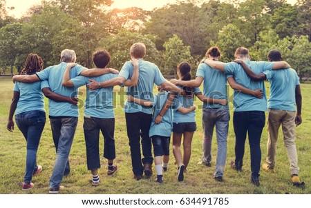 Group of diversity people volunteer arm around #634491785