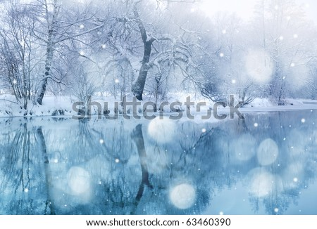 winter river in snowfall Royalty-Free Stock Photo #63460390