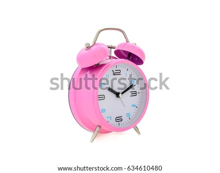 pink alarm clock retro and vintage classic design isolated white background #634610480