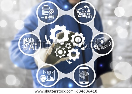 Industry 4.0 - Innovation IT Technology Integration Service Concept. Automation modernization business internet manufacturing. Worker touched icon cogwheels arrows mechanism on virtual screen. #634636418