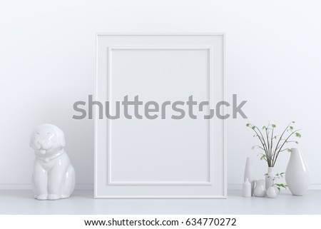 Vertical frame poster mock up with green plant in vase,Dog statue  white stucco wall background. 3d rendering #634770272