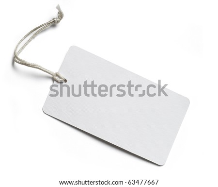 Blank price tag isolated on white with soft shadow, clipping path included