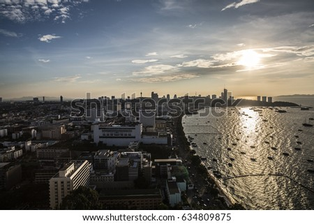 Pattaya, Thailand - 1 December, 2016: High view of the coast of Pattaya at sunset #634809875
