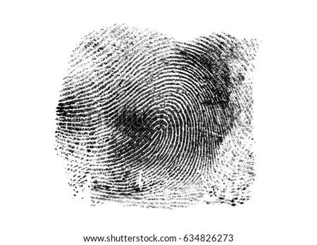 Black fingerprint on a white background #634826273