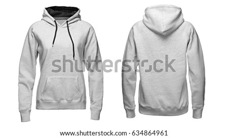 gray hoodie, sweatshirt mockup, on white background. #634864961