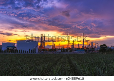 Sunrise scence of Oil Refinery factory industry with blue sky and clouds. Petrochemical plant , Petroleum , Industrial-plant. #634889615