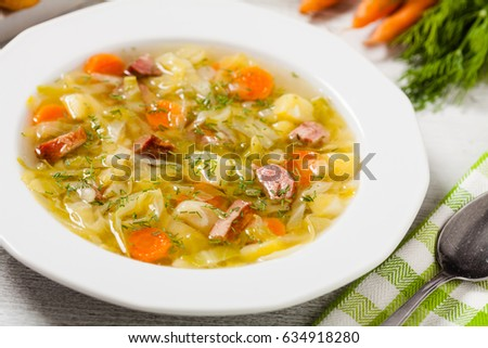 Homemade cabbage soup, cooked on smoked ribs. Front view. #634918280