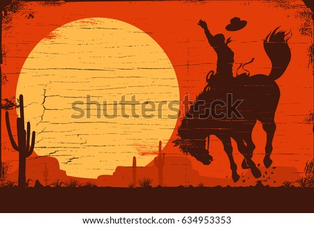 Drawing of a cowboy riding a wild horse at sunset on a wooden sign, vector