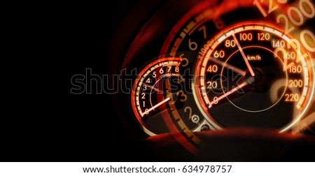 double exposure Car dashboard speedometer, speed concept, no limit concept, with space for text #634978757