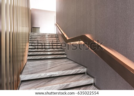 Modern white marble stairs for luxury interior #635022554