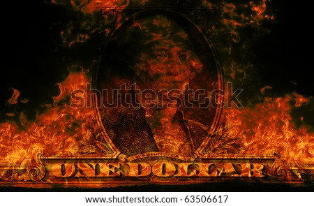 Digital visualization of a burning dollars #63506617
