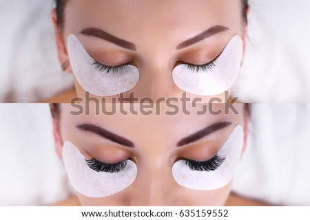 Eyelash Extension Procedure. Female eyes before and after. Royalty-Free Stock Photo #635159552