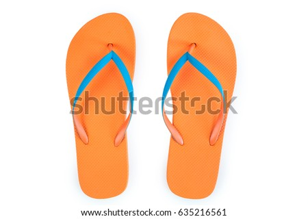 Orange Flip Flops Isolated On White Background. Top View #635216561