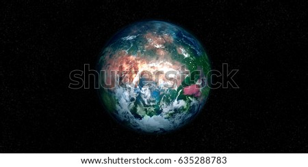 Extremely detailed and realistic high resolution 3D illustration of an earth like Exoplanet. Shot from space. Elements of this image are furnished by Nasa. #635288783