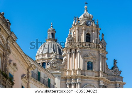 Abstract and conceptual of Sicilian Baroque, ancient town Ragusa. The places of Montalbano, Italian TV drama known throughout the world. From dusk to night, and the blue hour. #635304023