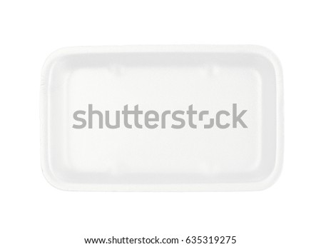 White plastic foam food packing tray plate isolated over the white background #635319275