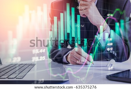 Double exposure businessman and stock market or forex graph suitable for financial investment concept. Economy trends background for business idea and all art work design. Abstract finance background. #635375276