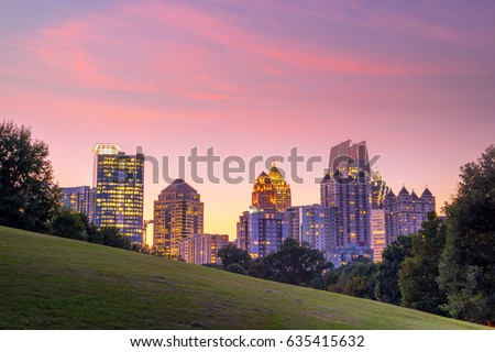 Midtown Atlanta skyline from the park at sunset
