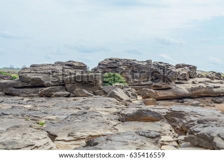 stone landscape, cloud and blue sky. Sam Phan Boke, Ubon Ratchathani Thailand #635416559