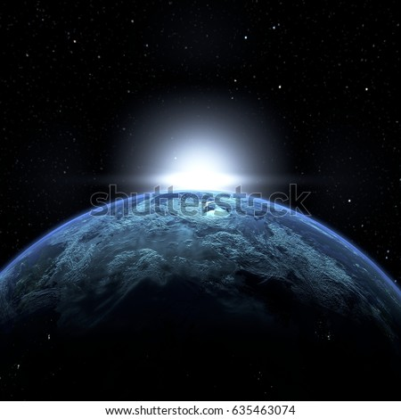3d illustration of sunrise in space. Created without reference image. Elements of this image furnished by NASA. #635463074