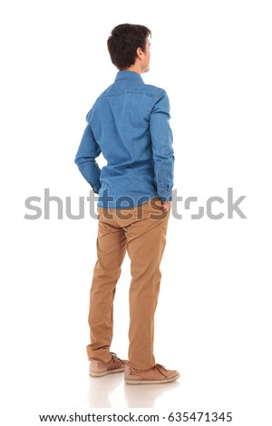 back view of a relaxed casual man with hands in pockets, full body picture of white background #635471345