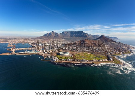 Aerial view of Cape peninsula, Cape Town, South Africa Royalty-Free Stock Photo #635476499