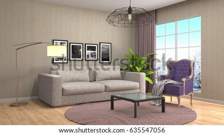 Interior living room. 3d illustration #635547056