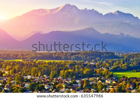 The Beautiful view of Salzburg with Festung Hohensalzburg at sunset, panorama Salzburg, Salzburger Land, Austria #635547986