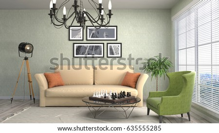 Interior living room. 3d illustration #635555285