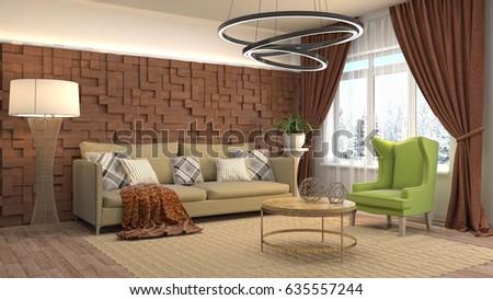 Interior living room. 3d illustration #635557244