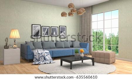 Interior living room. 3d illustration #635560610