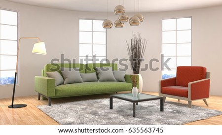 Interior living room. 3d illustration #635563745