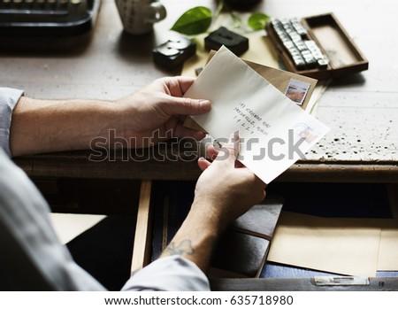 People Hands Holding Envelope Letter Communication #635718980