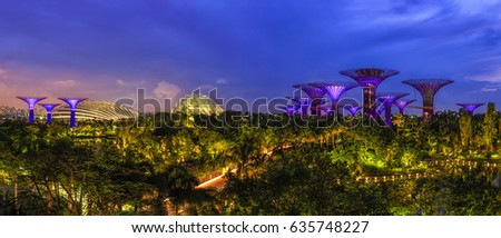 Panorama view. Supertree Groves in Gardens by the Bay at twilight time, Singapore #635748227