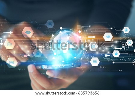 Hand touch screen smart phone, Application icons interface on screen, Social media, connect to the future concept. #635793656