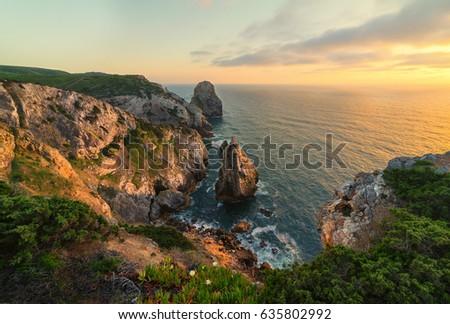 Cliffs in Portugal near Sintra, Lisbon, Portugal #635802992