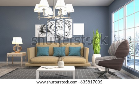 Interior living room. 3d illustration #635817005