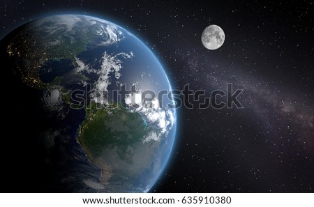 3d Blue Earth Background with Moon.(Elements of this image furnished by NASA- earthmap http: visibleearth.nasa.gov) #635910380