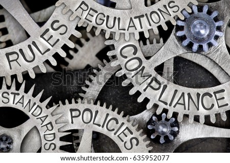 Macro photo of tooth wheels with COMPLIANCE, REGULATIONS, STANDARDS, POLICIES and RULES words imprinted on metal surface Royalty-Free Stock Photo #635952077