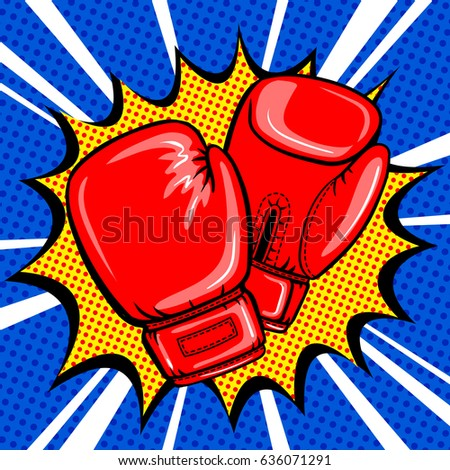 Boxing gloves pop art style raster illustration. Comic book style imitation