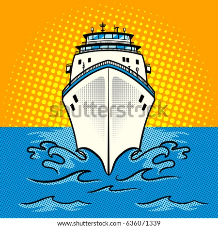 Cruise ship pop art style raster illustration. Comic book style imitation