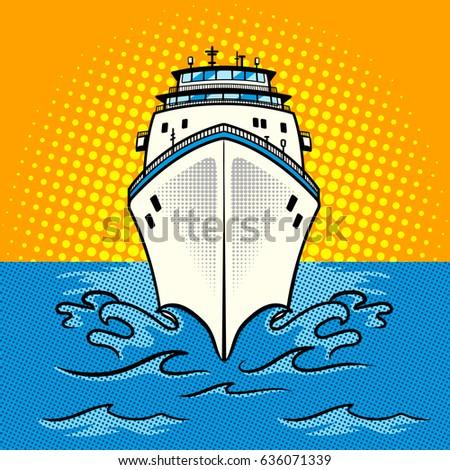 Cruise ship pop art style raster illustration. Comic book style imitation