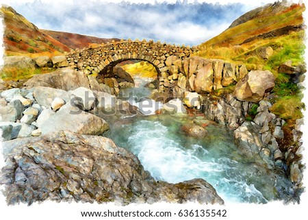 Watercolor painting of Stockley Bridge near Allerdale in the Lake District National Park in Cumbria #636135542