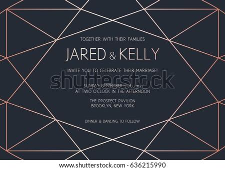 Vector modern design template for wedding invitation. Art Deco geometric rose gold pattern
