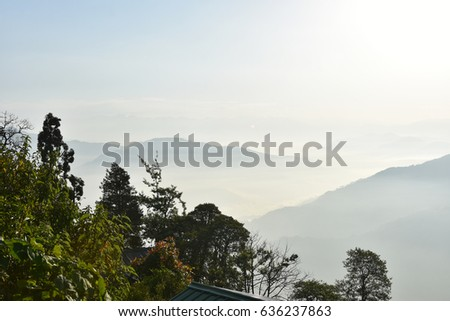 Sky houses, mountains, trees and clouds #636237863