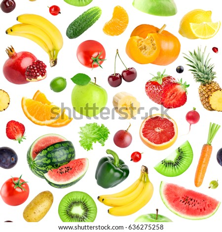 Fruits and vegetables seamless pattern. Background of fresh falling mixed healthy food #636275258