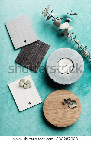 Flat lay interior decor objects for a color scheme mood board