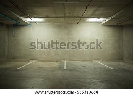 Parking garage department store interior with blank billboard. #636310664
