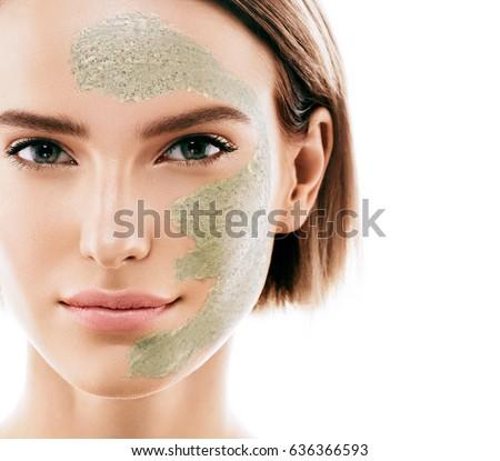 Woman clay face mask peeling beauty portrait #636366593