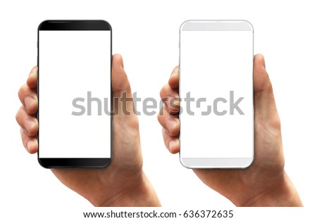 Man hand holding smartphone black and white isolated on white. Modern bezel free smartphones  #636372635